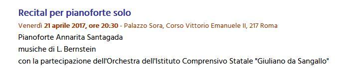 Palazzo Sora - Concerto di pianoforte prof.ssa Annarita Santagata